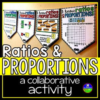 Ratios and proportions. In this collaborative activity, students find ratios and proportions in the following types of problems:1: Determine the ratio of objects shown and the fraction of one type of object2: Solve a proportion equation3: Complete a ratio table and plot the results on a grid4: Determine ratios and fractions from a word problem5: Determine if a table is a ratio table or if two ratios are proportional There are 6 of each pennant type.