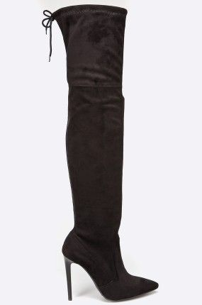 Buty - Carinii - Kozaki czarne za kolano na obcasie