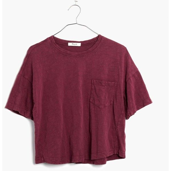 MADEWELL Garment-Dyed Pocket Tee ($30) ❤ liked on Polyvore featuring tops, t-shirts, shirts, tees, rusted burgundy, crop top, boxy t shirt, slouchy t shirt, pocket shirt and purple crop top
