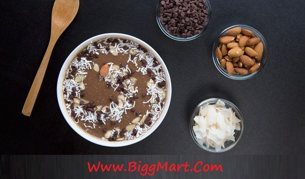 Almond Joy Smoothie Bowl.............! This yummy treat is packed with fiber and protein. Be sure to add your favorite toppings and eat with a spoon!