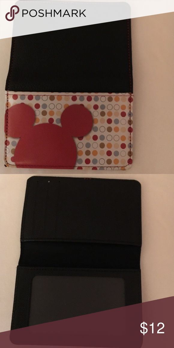 New all leather Disney credit/debit card holder Mickey ears. All leather. Never used. 3 pockets. Accessories Key & Card Holders