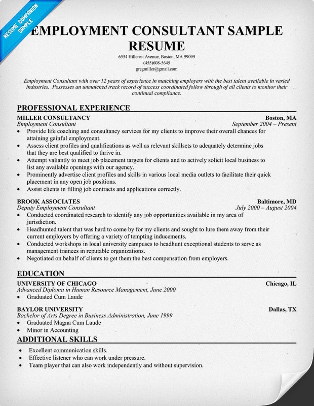Resume For Employment Consultant employment consultant sample – Sample Resume for Consultant