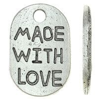 25pcs--Made With Love, Antique Silver, 11x17mm