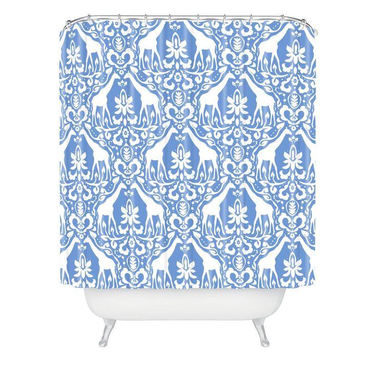 Jacqueline Maldonado Giraffe Damask Pale Blue Shower Curtain | DENY Designs Home Accessories