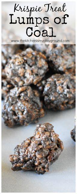No-Bake Lumps of Coal {aka: Oreo Cocoa Krispie Treats Coal} ~ Whip up a batch for those on your naughty list! #nobake #lumpsofcoal #naughtyornice www.thekitchenismyplayground.com