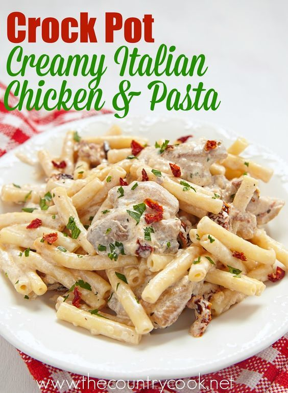 Crock Pot Creamy Italian Chicken is super simple to make and everyone just loves it! Toss it with some pasta and it's the most amazing meal!