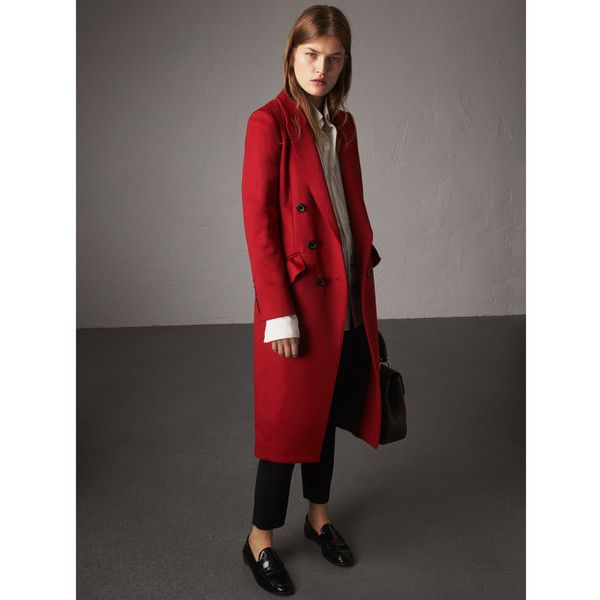 Burberry Ruffle Detail Wool Cashmere Tailored Coat (6.935 RON) ❤ liked on Polyvore featuring outerwear, coats, ruffle coat, woolen coat, slim fit wool coat, tailored coat and longline coat
