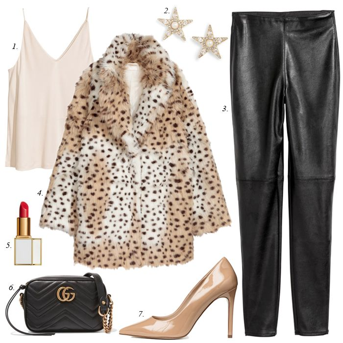 leopard faux fur jacket, leggings, gucci bag, nude pumps, holiday outfit, party, NYE, women fashion, women dressy, gift ideas