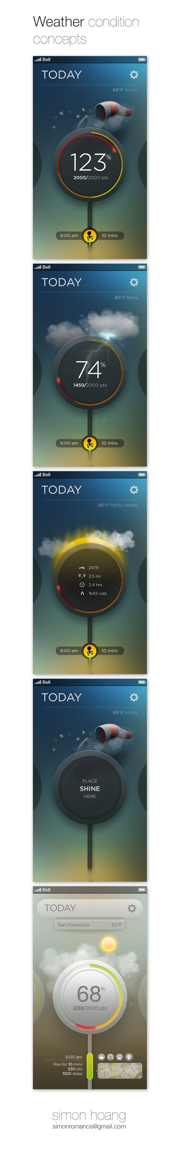 Misfit Shine: Weather conditions by Simon Hoang, via Behance *** #app #gui #ui #behance