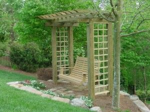 Rock under porch swing with frame