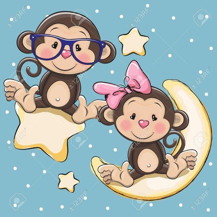 Tarjeta de San Valentín con los amantes de los monos en una luna y la estrella Foto de archivo - 57929139