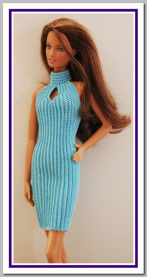 Barbie Basic Blue Crochet Dress - made the same as the green dress only with an opening in the front