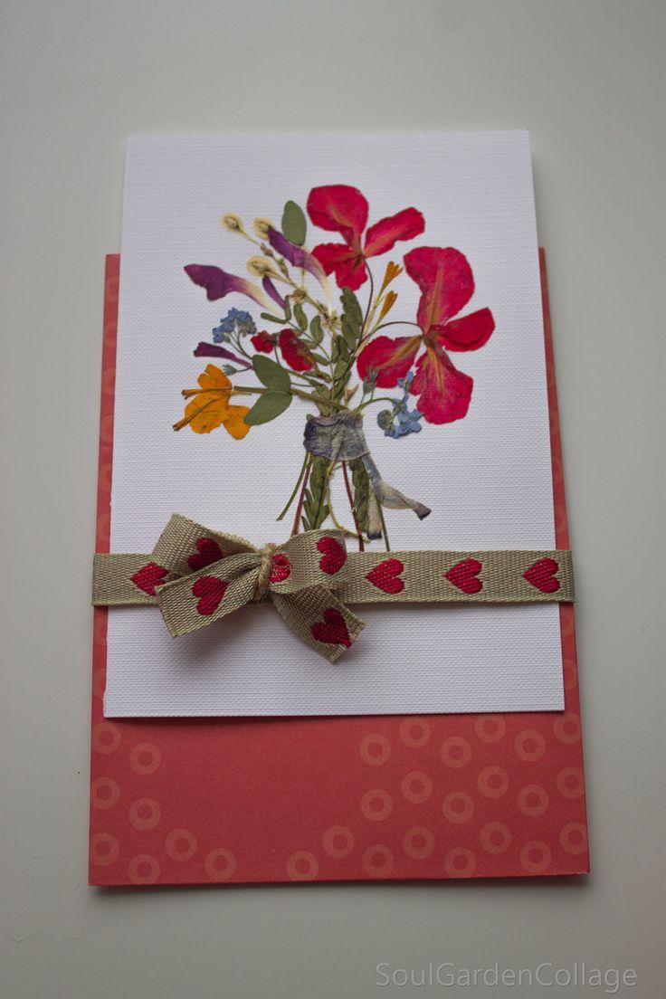 Greeting card Birthday card A6 Love card  Wedding card Handmade Botanical art Flower art Pressed flowers art Oshibana OOAK greeting card by SoulGardenCollage on Etsy