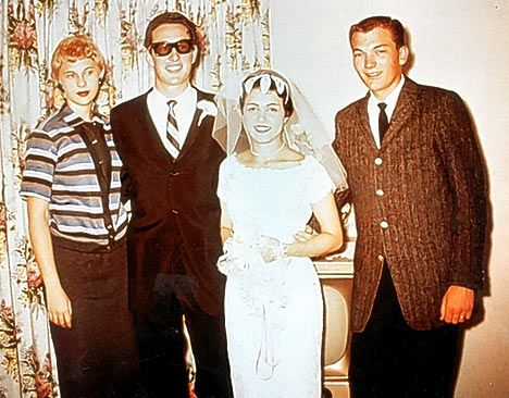 If you were born in 1958, that year Buddy Holly married Elena Santiago -- here they are that day with the 'real' Peggy Sue (Allison) and Jerry Allison who was one of The Crickets - it was this Peggy Sue the famous song Peggy Sue was about -- Buddy would pass that next year in 1959 - the couple had no children.