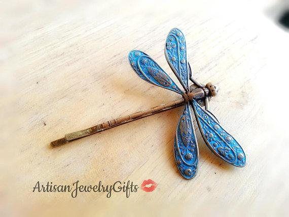 Blue patina dragonfly bobby pin