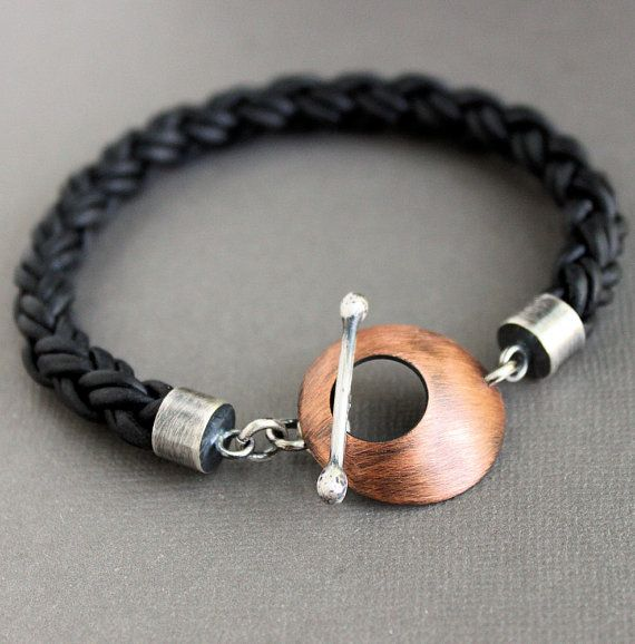 Mens Leather Copper Bracelet Thick Braided Cord Large Toggle Clasp by LynnToddDesigns