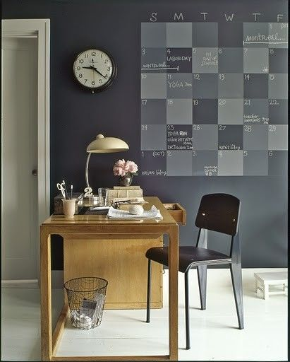 A calendar painted on the wall with chalkboard paint - genius by vera