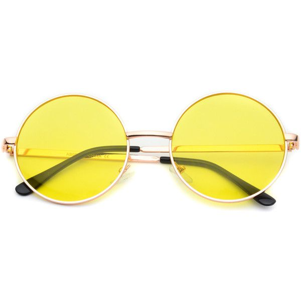 Payton colorful round retro sunglasses ($37) ❤ liked on Polyvore featuring accessories, eyewear, sunglasses, glasses, yellow, yellow lens glasses, metal frame glasses, metal sunglasses, round lens glasses and round sunglasses