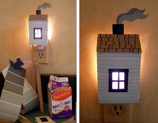 this night light is made from used milk carton, paper paint sample cards, and slides... cute!