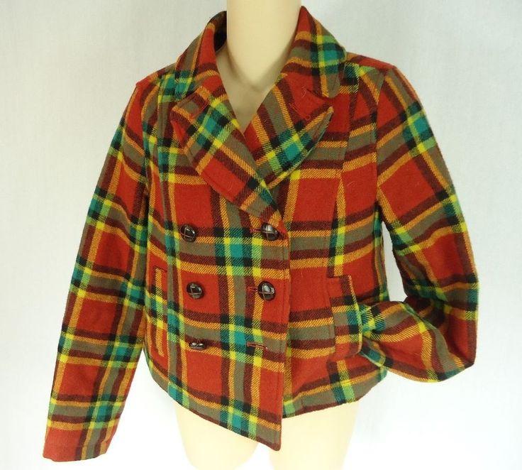 FREE PEOPLE ANTROPOLOGY Wool Plaid Double-Breasted Coat Jacket size 4 RN #66170 #FreePeople #BasicCoat