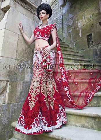 Superb blood red lehenga choli available online – Panache Haute Couture