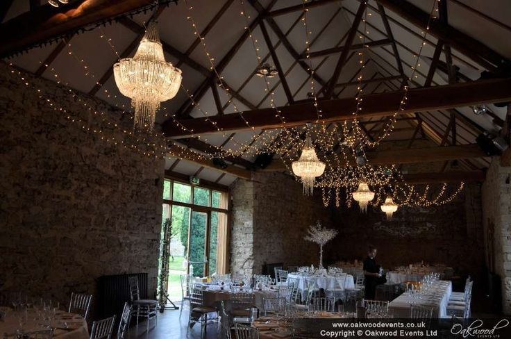 Double gather fairy light canopy at the beautiful Notley Abbey