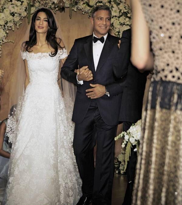 Amal Alamuddin's Oscar de la Renta Wedding Dress at her wedding to George Clooney