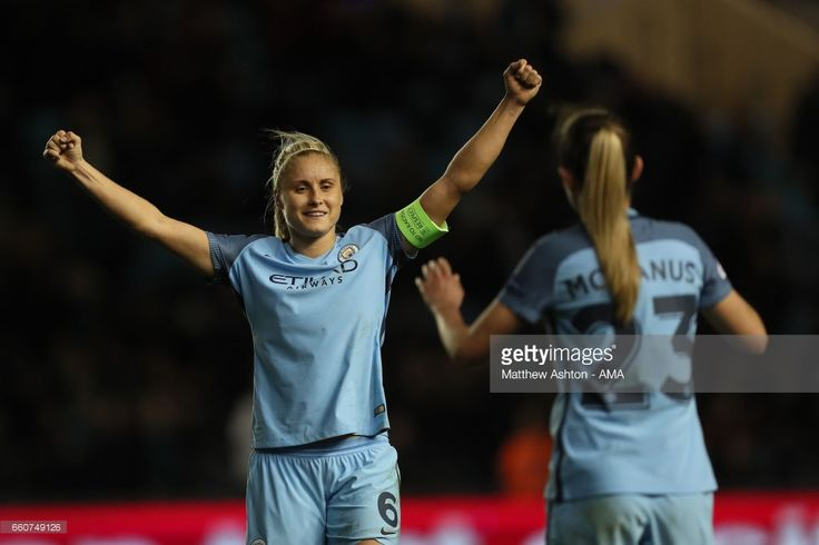 Steph Houghton of Manchester City celebrates victory during the UEFA Women's Champions League Quarter Final second leg match between Manchester City and Fortuna at Mini Stadium on March 30, 2017 in Manchester, England.