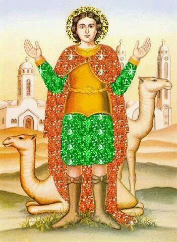 """Saint Menas (aka Minas, Mina, Mena, Mennas) He saw in a revelation the angels crowning the martyrs with glamorous crowns & longed to join those martyrs. Immediately after, he heard a voice saying: """"Blessed are you Menas because you have been called to the pious life from your childhood. You shall be granted 3 immortal crowns; 1 for your celibacy, another for your asceticism & 3rd for your martyrdom."""" The soldiers who executed Menas set his body to fire for 3 days but the body remained…"""