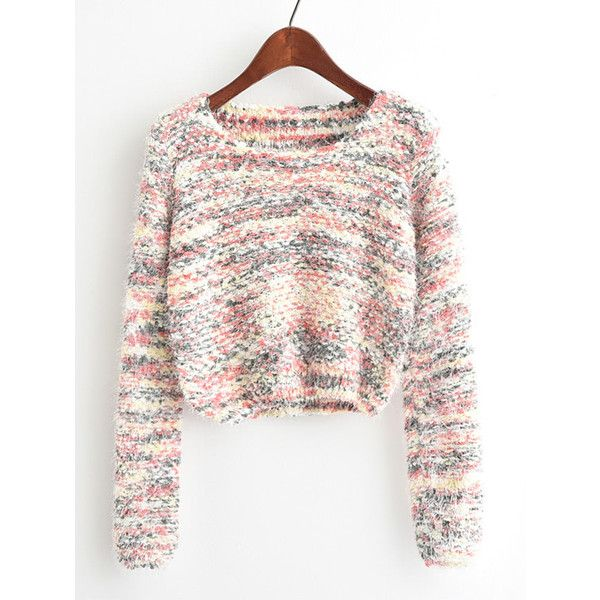 SheIn(sheinside) Round Neck Crop Knit Sweater ($16) ❤ liked on Polyvore featuring tops, sweaters, multicolor, white long sleeve sweater, cropped sweater, pullover sweater, crop top and long sleeve sweater