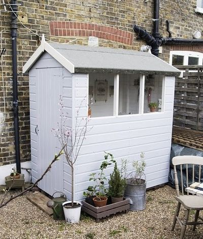 A 4x6 Sewing Shed...Proof that you can turn any sized structure (4x6?!) into the most delightful creative space! What would you turn a tiny shed into?