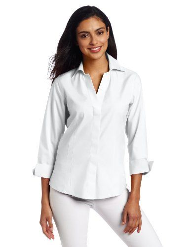 Foxcroft Womens 3/4 Sleeve Fitted Blouse Foxcroft. $36.45. Front Darts for Flattering Fit. Machine Wash. 100% cotton. Hidden Placket