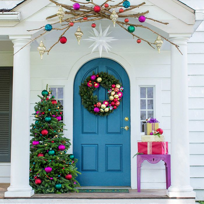 Front porch with Christmas decorations.                                                                                                                                                                                 More
