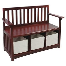 """Wood storage bench with slatted sides and 3 removable baskets. Product: Storage bench    Construction Material: Wood and canvas    Color: Rich cherry and ivory     Features: Three canvas storage baskets           Dimensions:  27"""" H x 34.5"""" W x 14.5"""" D Note: Assembly required"""