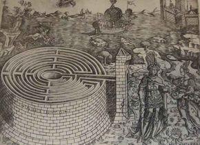 Baccio Baldini, Teseo y Ariadna al lado del laberinto de Creta, 1460-1470 (mitologia griega)  la arquitectura se crea para dar un orden al mundo, la arquitectura ha de dominar la naturaleza. mito sobre la moral del bien sobre el mal