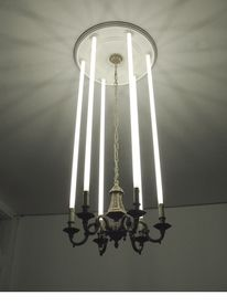 lightsaber chandelier! Cute mix of geeky boy and chic girl. Lol
