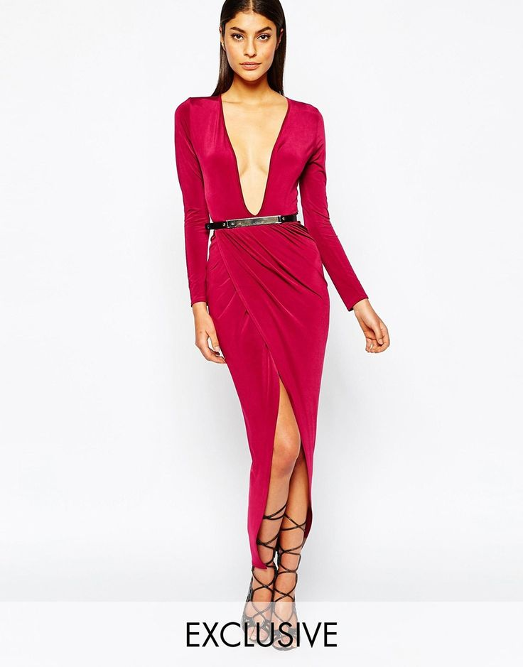 Club L Drape Slinky Wrapover Dress With Metal Belt