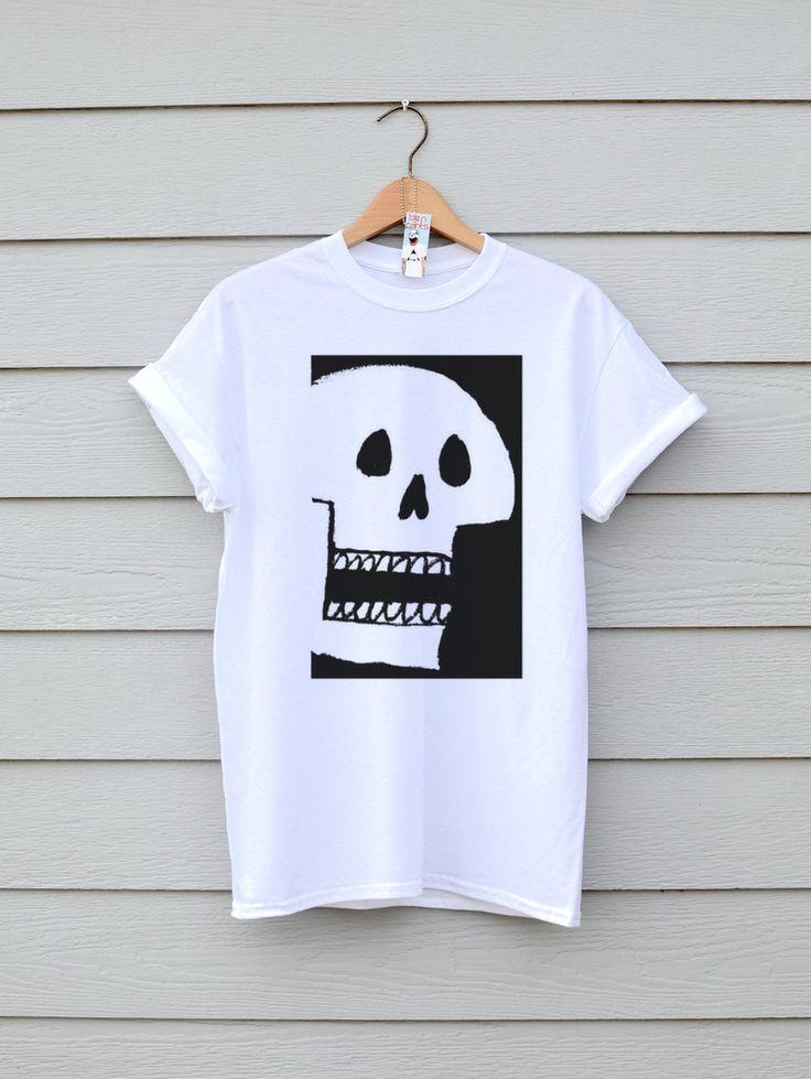 Skull Tee In White, By Ben Prints On Etsy