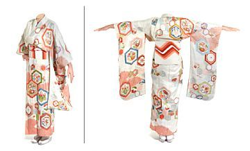 KIMONO  Japan. Pearl white silk with multicolored pattern, embroidery in gold and silver color.  1940s.