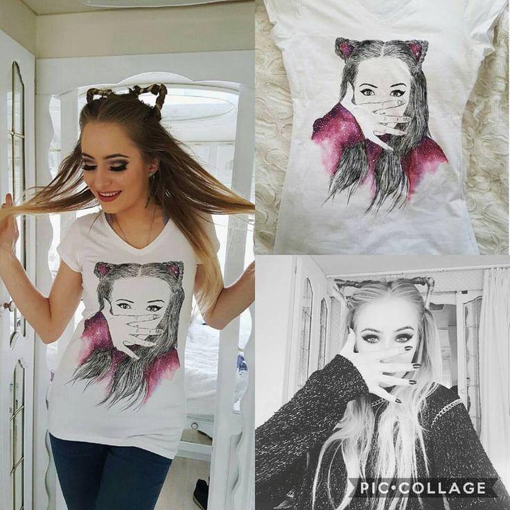 Koszulka ręcznie malowana z dziewczyną, hand painted t-shirt girl, cat, galaxy