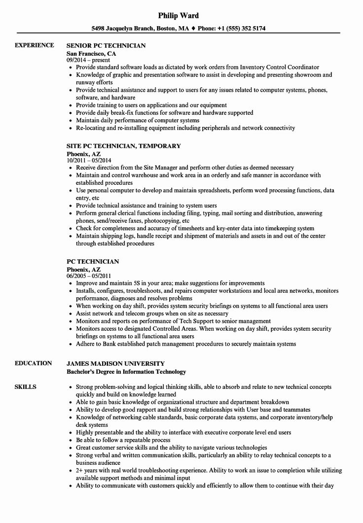 Desktop Support Technician Resume Elegant Pc Technician