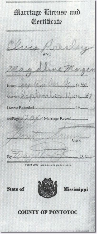 Elvis Presley (13) and Magdalene Morgan 'Marriage Licence ...