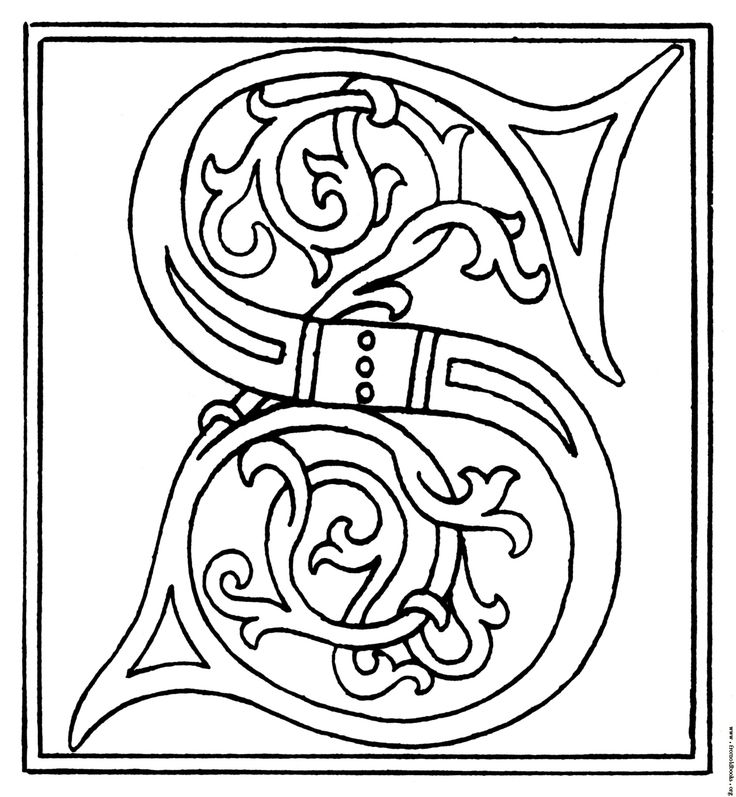 illuminated alphabet coloring pages free - photo#31