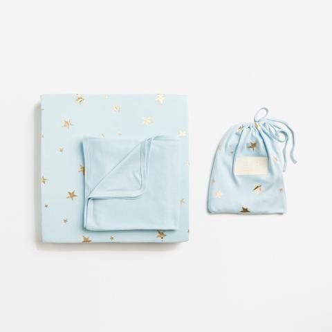 Ice Blue Starburst Cot Sheet Set