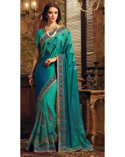 Turquoise Embroidered Saree