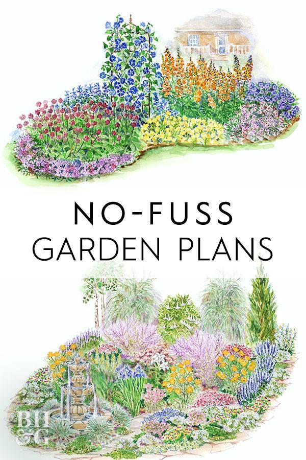 15 No Fuss Garden Plans Filled With Plants That Thrive In Full Sun Garden Planning Garden Design Plans Flower Garden Plans