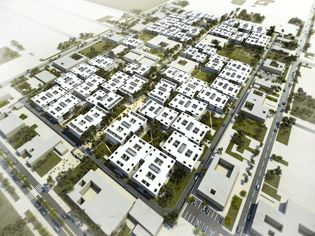 Winning international competition scheme for the Iraq government and UN-HABITAT (United Nations Agency for Human Settlements). A fully integrated settlement for 3000 people is proposed including schools, markets, health centres, and a variety of green spaces and playing fields. Building designs are low cost, architecturally advanced, use local resources, and have sustainability ratings rivalling western standards.