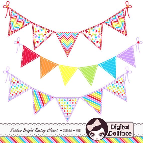 Rainbow Bunting Clip Art Banner Clipart by DigitalDollFace on Etsy, $2.95
