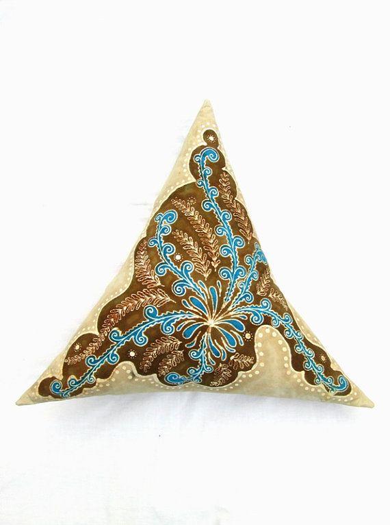 Azzurro triangle hand painted batik pillow unique by BataviaDesign