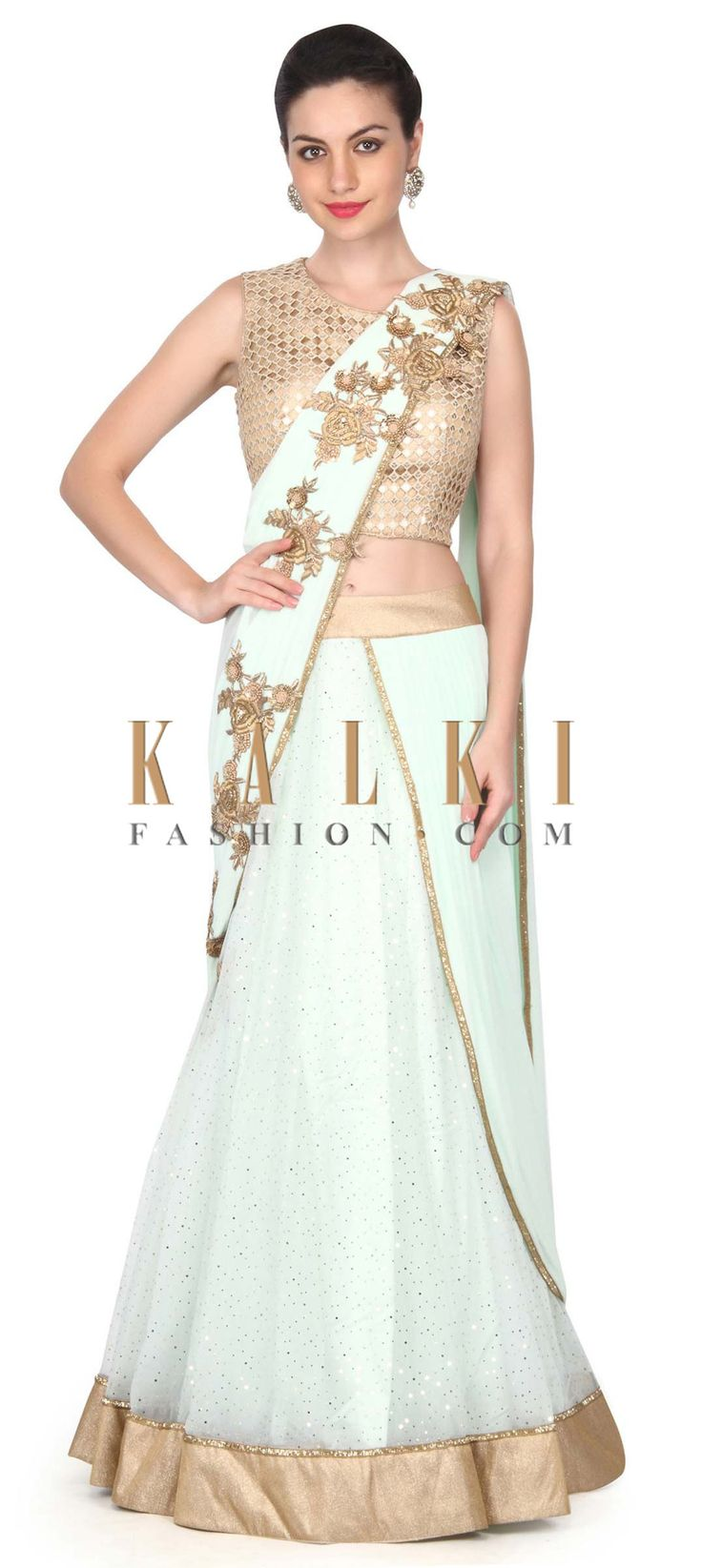 Buy this Pista green lehenga saree in french knot and zari work only on Kalki